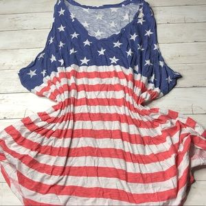 Plus Size 4X Patriotic Tank Top Americana Flag